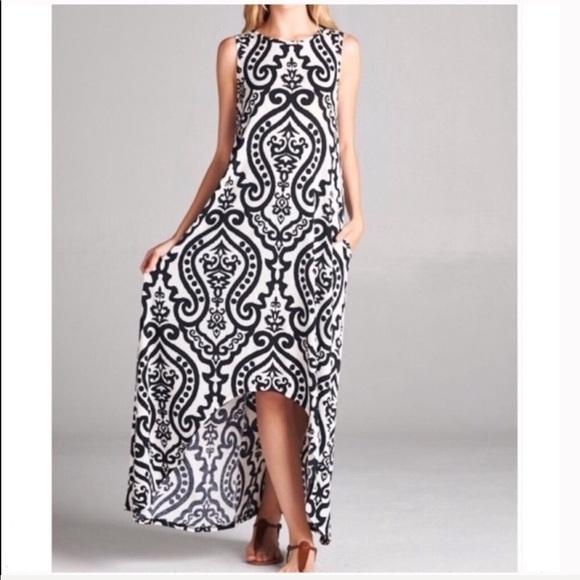 Dresses & Skirts - Damask Black Hi-Low Sleeveless Maxi Dress Sz Sm